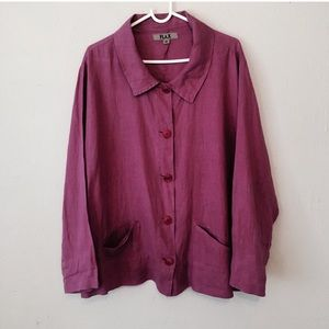 FLAX Size M magenta button front linen shirt loose